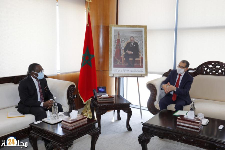 العثماني يستقبل رئيس المجلس الاقتصادي والاجتماعي والبيئٍي والثقافي بجمهورية كوت ديفوار