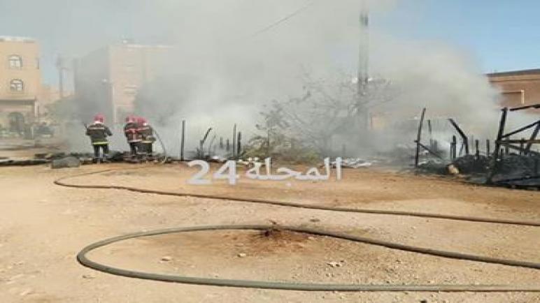 حريق يلتهم مخيم الأفارقة بتزنيت