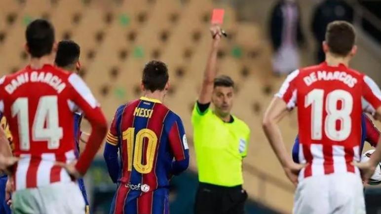 إيقاف ميسي لمباراتين بعد طرده في الكأس السوبر الإسباني